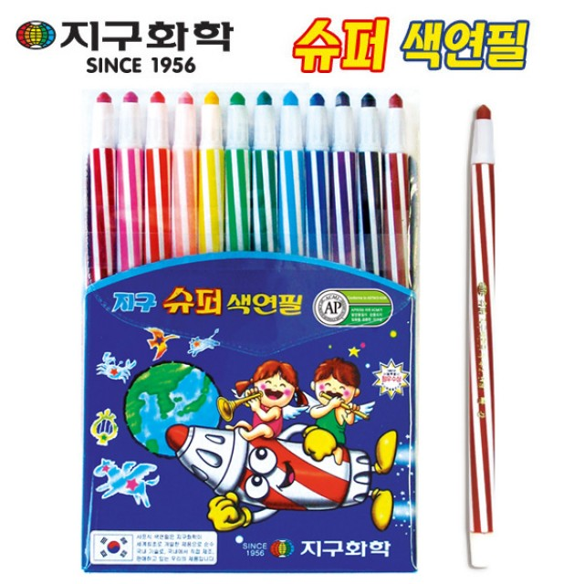 지구화학 슈퍼색연필 12색 색연필12색 색연필 미술용품